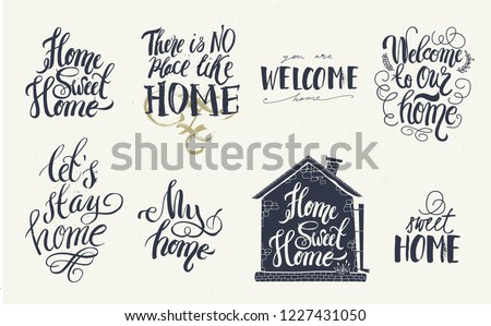 Home Welcome Decor Quotes Signs Set Stock Vector Royalty Free