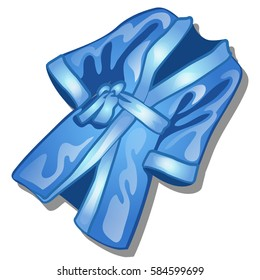 Home women's satin bathrobe blue color isolated on a white background. Cartoon vector close-up illustration.