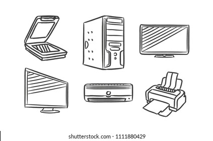 Home and work equipment hand drawn icons set with scanner, personal computer, monitor, TV, air conditioning, printer, PC, technology. Vector illustration