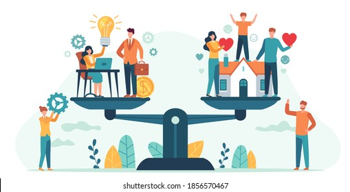 Home and work on scales. Woman and man balancing family and career. Business people compare love, children, job. Balance life vector concept. Illustration comparison finance compare family