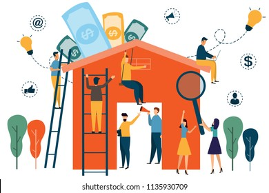 home working infographics. people construct home for smart home and business. people working. vector illustration.