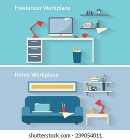 Home workplace flat vector design. Workspace for freelancer and home work. Flat style vector illustration.