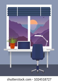 Home workplace at the window with desk, laptop, desk lamp. Room plant in pot on the window sill. Blinds on the window. Mountains, sea, sunset outside. Vector flat illustration