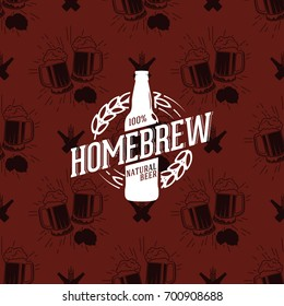 Homebrew logo on seamless pattern clinking glasses of beer, vector illustration