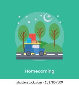 Homecoming flat icon design