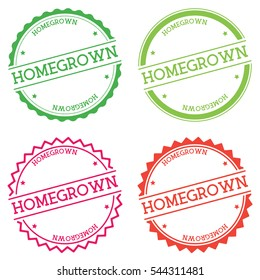 Homegrown badge isolated on white background. Flat style round label with text. Circular emblem vector illustration.