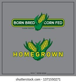 Homegrown - corn logo, Agriculture design, Corn Cob label, Farm Fresh clipart