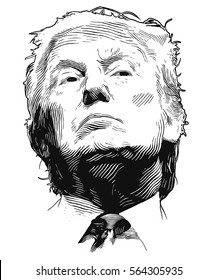 Homel, Belarus - Januar 26, 2017: Donald John Trump.  American businessman, actor, author, politician, and the President-elect of the United States. Vector illustration