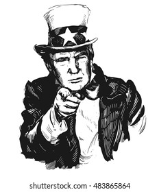 Homel, Belarus - September 16, 2016: Donald Trump, republican presidential candidate. Sketch by hand. Vector illustration.