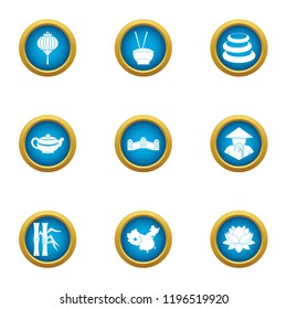 Homeland in asia icons set. Flat set of 9 homeland in asia vector icons for web isolated on white background