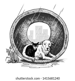 Homeless animals in the rain-protected shelter. International Homeless Animals Day. Pets adoption concept.Monochrome vector illustration.