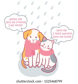 homeless animals. they need love. dog and cat in the rain. vector illustration