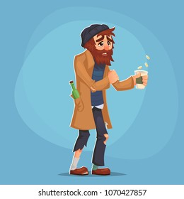 homeless Bum Poor man adult beg money and need help isolated Cartoon Design Vector Illustration social problem poverty misery eps10