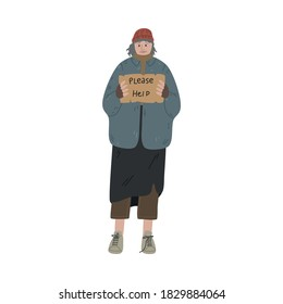 Homeless dirty woman or man standing with cardboard box and asking for help