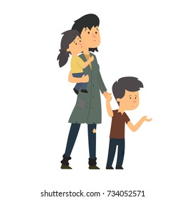 homeless family. unhappy children with their mother asking for help. vector illustration.