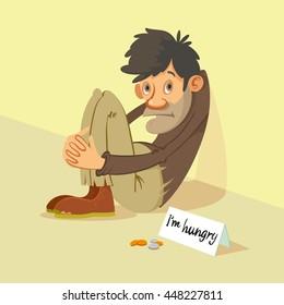 Homeless hungry beggar begs for money, vector illustration
