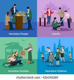 Homeless icons set with people warm themselves around the fire, begging, receiving donations and homeless children and families vector illustration