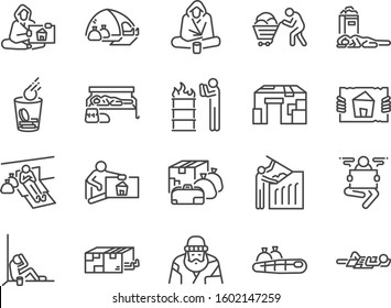Homeless line icon set. Included icons as poor, empty, homelessness, living on the streets, trash, abandon and more.