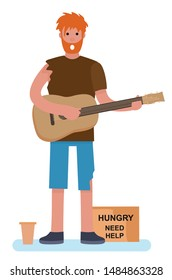 homeless man beggar playing guitar tramp begging for help. homeless. jobless concept. cartoon style vector illustration isolated on white background.