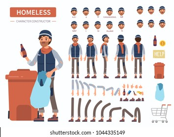 Homeless man character constructor for animation. Front, side and back view. Flat  cartoon style vector illustration isolated on white background.