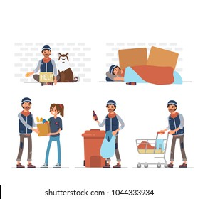 Homeless man character. Flat  cartoon style vector illustration isolated on white background.