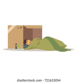 Homeless man character sleeping on the street in cardboard box, unemployment man needing help vector illustration