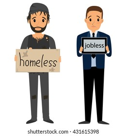 Homeless man in dirty old clothes whith bag in hand and Jobless man in suit whith tablet. Vector flat cartoon illustration
