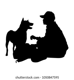 Homeless man with dog silhouette vector