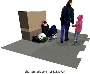 Homeless Man And Dog Sitting On Street As Man and Girl Pass By Vector