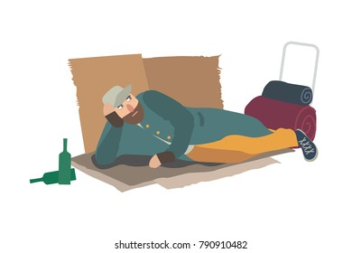 Homeless man dressed in ragged clothes lying on cardboard sheets on ground. Hobo, bum, tramp or vagabond. Person in poverty. Poor male character isolated on white background. Vector illustration.