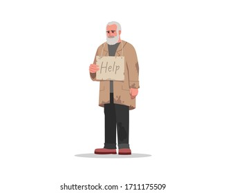 Homeless man hold sign board semi flat RGB color vector illustration. Help unemployed person in poverty. Charity for jobless senior. Beggar isolated cartoon character on white background