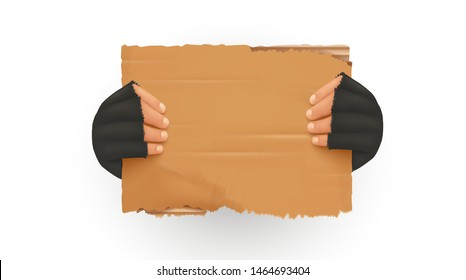 Homeless. Man holding up blank cardboard sign. Homeless holding a cardboard. Isolated vector illustration