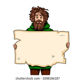 Homeless man with paper sign pop art style vector illustration. Comic book style imitation. Object On white background. Conceptual illustration