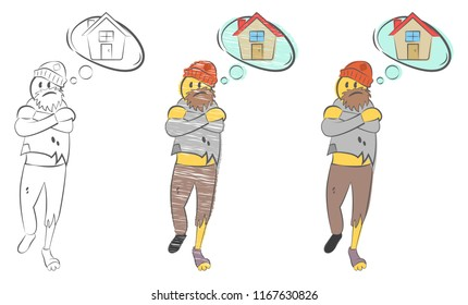 Homeless man with torn clothes dreams about home. Problems of homeless person concept. Tramp seeks refuge. Unemployment guy. Man freezing. Suffers from cold. Hand drawn  doodle vector illustration.