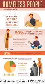 Homeless people cartoon infographics with homeless statistics percentage and charts about strength vector illustration