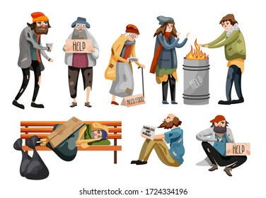 Homeless people cartoon. Unemployment people needing help and food. Homeless male and female people begging money set. Tramp sleeping on bench, hungry beggar sits on sidewalk vector illustration.
