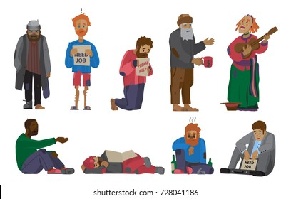 Homeless people characters cadger set, unemployment men needing help, bums and hobos stray vector illustrations.