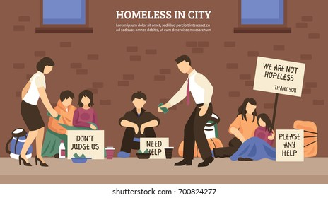 Homeless people town composition with homeless in city headline and different people who live on the street vector illustration
