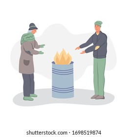 Homeless people warm themselves by the fire. The concept of poverty, misery, unemployment, volunteers. Flat cartoons vector illustration.