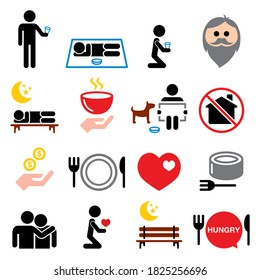 Homeless, poverty, man begging for money icons set - society, helping other people with no home concept. Vector color icons set isolated on white - being poor or homeless, hunger problem