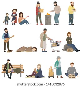 Homeless. Sad jobless people in dirty clothes begging money and needing help. Isolated vector illustration