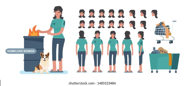 Homeless. Sad jobless woman in dirty clothes. character constructor for animation creation cet. Front, side and back view. cartoon style vector illustration isolated on white background.
