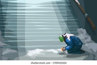homeless sitting at underground stairs