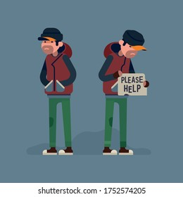 Homeless unemployed person in need of help. Flat vector character design on vagrant man standing and begging