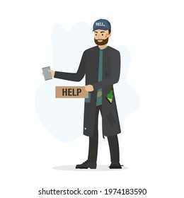 Homeless vagrant man ask for money. beggar in torn clothes, isolated on white background. Vagabond holds donation mug and cardboard. Jobless man need money help. Flat vector illustration