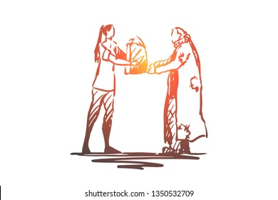 Homeless, volunteer, help, poor, charity concept. Hand drawn woman volunteer give food to homeless person concept sketch. Isolated vector illustration.