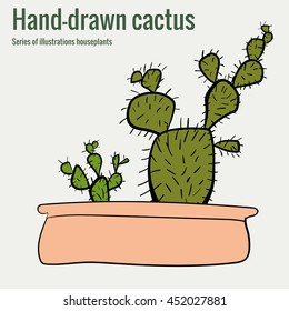 Homemade cactus in a pot, a hand-drawn illustration, vector art