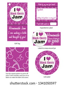 Homemade Cherry Jam stickers and labels