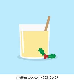 Homemade Christmas Eggnog with Cinnamon. Vector illustration