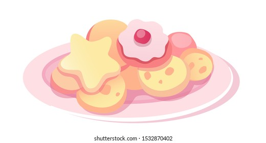 Homemade cookies flat vector illustration. Sweet biscuits of various shapes in pink plate isolated clipart on white background. Delicious baked dessert with berry jam in saucer design element
